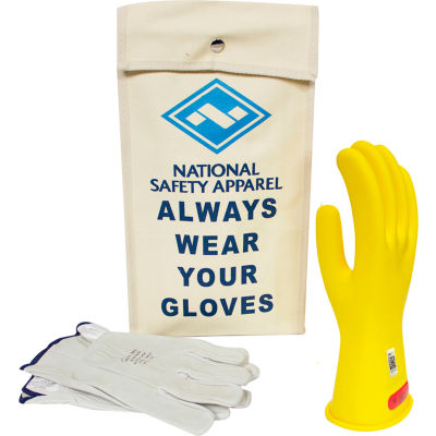 ArcGuard® Class 0 ArcGuard Rubber Voltage Glove Kit, Yellow, Size 10, KITGC0Y10