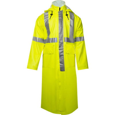 """Arc H2O™ 48"""" Flame Resistant Hi-Vis Trench Coat, ANSI Class 3, Type R, Yellow, S"""