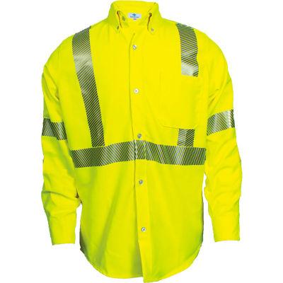 VIZABLE® FR Hi-Vis Work Shirt, Type R, Class 3, 3XL, Fluorescent Yellow, SHRTV3C33XLRG