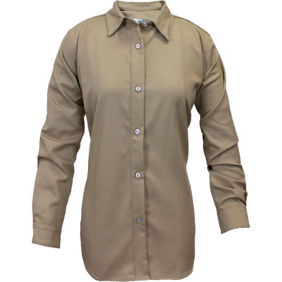 ArcGuard® Women's Flame Resistant Work Shirt in UltraSoft, L, Tan, SHRUKWLGRG