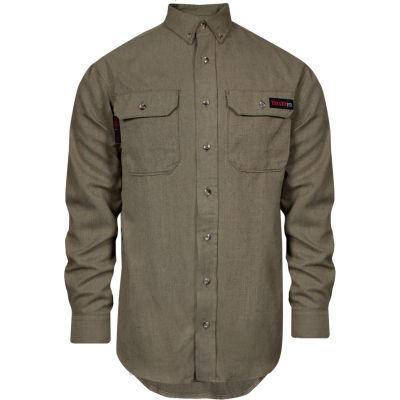 TECGEN Select® Flame Resistant Work Shirt, M-LN, Tan, TCG01120217