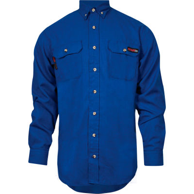 TECGEN Select® Flame Resistant Work Shirt, 5X, Royal Blue, TCG01130234