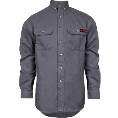 TECGEN Select® Flame Resistant Work Shirt, L-LN, Gray, TCG01150220