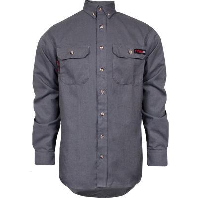 TECGEN Select® Flame Resistant Work Shirt, 5X-LN, Gray, TCG01150235