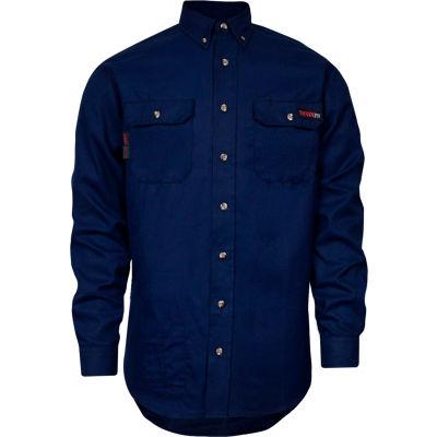 TECGEN Select® Flame Resistant Work Shirt, M-LN, Navy, TCG01160217