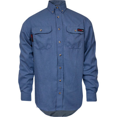 TECGEN Select® Flame Resistant Work Shirt, L-LN, Light Blue, TCG01190220