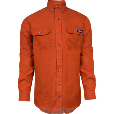 TECGEN Select® Flame Resistant Work Shirt, 4X, Orange, TCG01200231