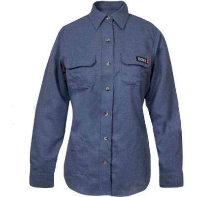 TECGEN Select® Women's Flame Resistant Work Shirt, XL, Light Blue, TCGSSWN00119XLRG00