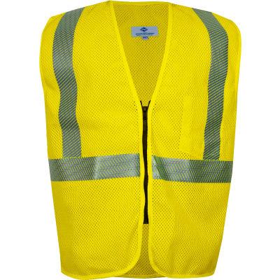 VIZABLE® FR Standard Hi-Vis Mesh Safety Vest, Zipper, ANSI Class 2, Type R, M, Yellow