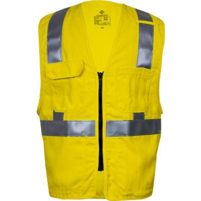 VIZABLE® Flame Resistant Hi-Vis Standard Vest, ANSI Class 2, Type R, 2XL, Yellow