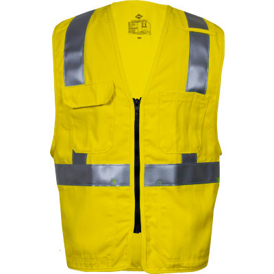 VIZABLE® Flame Resistant Deluxe Hi-Vis Zip Safety Vest, ANSI Class 2, Type R, M, Yellow
