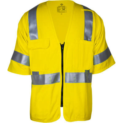 VIZABLE® Flame Resistant Deluxe Dual Hazard Road Vest, Type R, Class 3, XL, Yellow