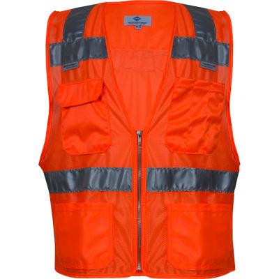 VIZABLE® Hi-Vis Deluxe Micro Mesh Road Vest, ANSI Class 2, Type R, 2XL, Orange
