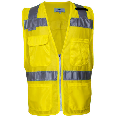 VIZABLE® Hi-Vis Deluxe Micro Mesh Road Vest, ANSI Class 2, Type R Type R Class 2, S, Yellow