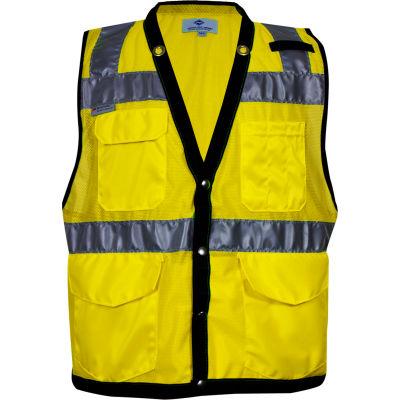 VIZABLE® Hi-Vis Mesh Tablet Vest, ANSI Class 2, Type R Type R Class 2, XL, Yellow