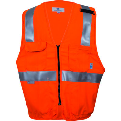 VIZABLE® Flame Resistant Hi-Vis Deluxe Road Vest, ANSI Class 2 Level 2, L, Orange