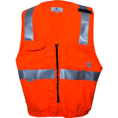 VIZABLE® Flame Resistant Hi-Vis Deluxe Road Vest, ANSI Class 2 Level 2, L, Orange