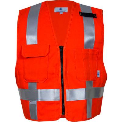 VIZABLE® Flame Resistant Hi-Vis Short Waist Deluxe Vest, Non-ANSI, XL, Orange