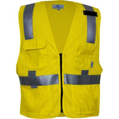 VIZABLE® Flame Resistant Hi-Vis Deluxe Road Vest, ANSI Class 2, Type R, 3XL, Yellow