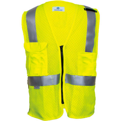 VIZABLE® Flame Resistant Deluxe Anti-Static Hi-Vis Mesh Vest, ANSI Class 2, Type R, 3XL, Yellow