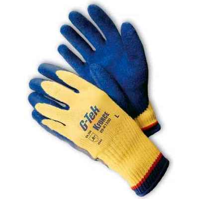 "PIP G-Tek® K-Force Gloves, Kevlar® W/Blue Latex ""Crinkle"" Grip, L"