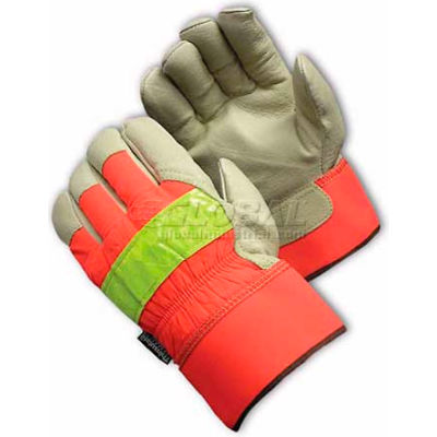 PIP Hi-Visibility Leather Gloves, Insulated W/3M® Thinsulate™, Rubberized Safety, XL