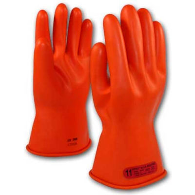 """PIP Electrical Rated Gloves, 11""""L, Unlined, Smooth Finish, Beaded, Orange, Class 0, Size 9"""