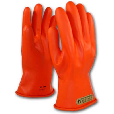 "PIP Electrical Rated Gloves, 11""L, Unlined, Smooth Finish, Beaded, Orange, Class 00, Size 12"