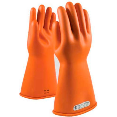 "PIP Electrical Rated Gloves, 14""L, Unlined, Smooth Finish, Beaded, Orange, Class 1, Size 11"