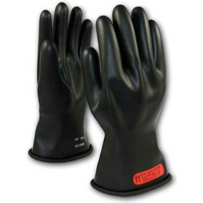 """PIP Electrical Rated Gloves, Black, 11"""", Unlined, Smooth Finish, Beaded, Class 0, 9"""