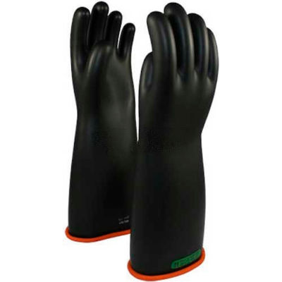 "PIP Electrical Rated Gloves, Two Tone, Black W/Orange Inner Color, Rolled Cuff, Class 3, 16""L, SZ 12"