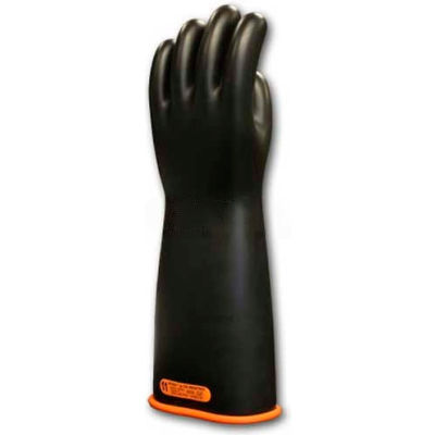 "PIP Electrical Rated Gloves, Two Tone, Black W/Orange Inner Color, Class 4, 18""L, Size 11"