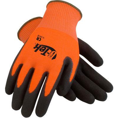 PIP G-Tek® CR Hi-Vis Orange Nitrile Grip Gloves W/ HPPE/Glass Liner, Black Palm, M, 1 DZ