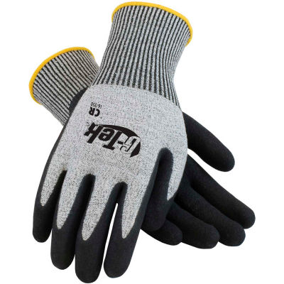 PIP G-Tek® CR Nitrile Grip Gloves W/ Salt/Pepper HPPE/Glass Liner, Black Palm, XS, 1 DZ