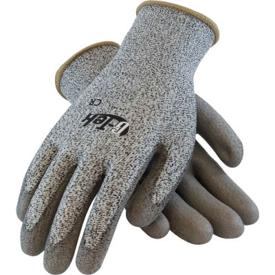 PIP G-Tek® CR Polyurethane Salt & Pepper Grip Gloves with HPPE Liner, Gray, M, 1 DZ