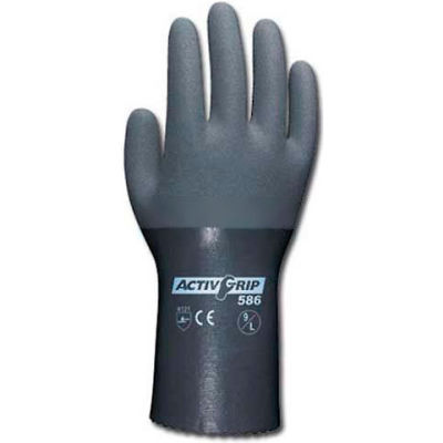 PIP Micro-Finish™ Grip Nitrile Coated Gloves, 56-AG586, Size L, Gray, 12 Pairs