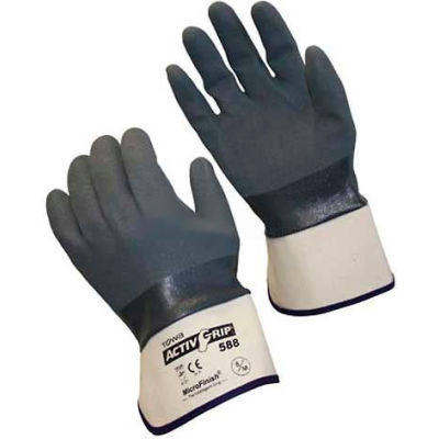 PIP Micro-Finish™ Grip Nitrile Coated Gloves, 56-AG588, S, Gray/White, 12 Pairs