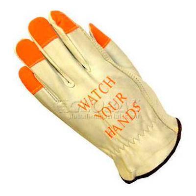 PIP Top Grain Cowhide Drivers Gloves, Keystone Thumb, Quality Grade Hi-Vis Finger, M