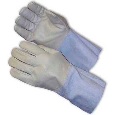 "PIP Mig Tig Welder's Gloves, Top Grain Cowhide, 4-1/2""Length, Leather Gauntlet, Size L"