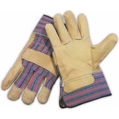 PIP Top Grain Cowhide Leather Palm Gloves, Regular Grade, Safety Cuff, S