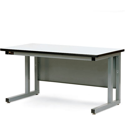 Pro-Line 60x30 CHD6030P-A31 Fixed Height Cantilever Heavy Duty Plastic Laminate Top Workbench- Gray