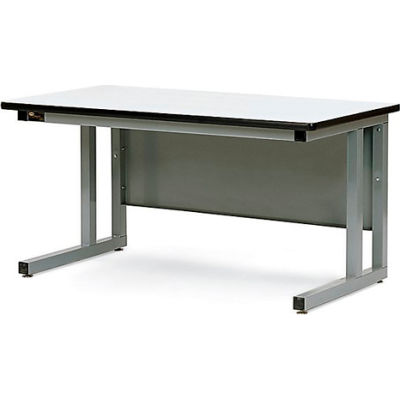 Pro-Line 72x30 CHD7230P-A31 Fixed Height Cantilever Heavy Duty Plastic Laminate Top Workbench- Gray