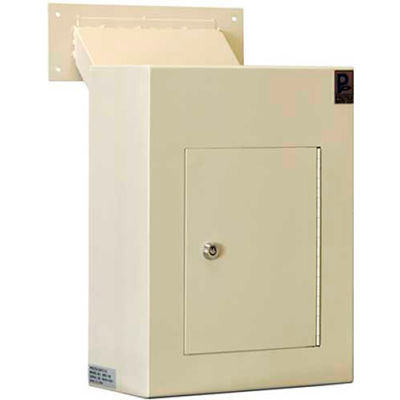 "Protex Wall Depository Drop Box WDC-160 with Adjustable Chute - 12""W x 6""D x 16""H, Beige"