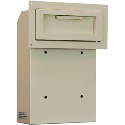 "Protex Through-The-Door Depository Drop Box, Beige, 10""W x 4-1/4""D x 15""H"