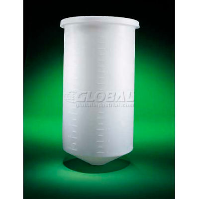 """Saint Gobain PP, 10 Gal., Conical-Bottom Tank w/Cover, 13-1/4""""Dia. x 23""""H, 5/32""""Wall, Off White"""