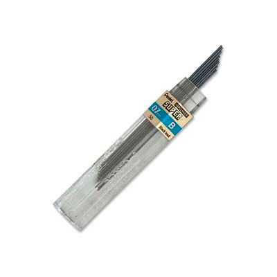 Pentel® Super Hi-Polymer Lead Refill, B Leads, 0.7mm, Medium, Black, 12/Tube