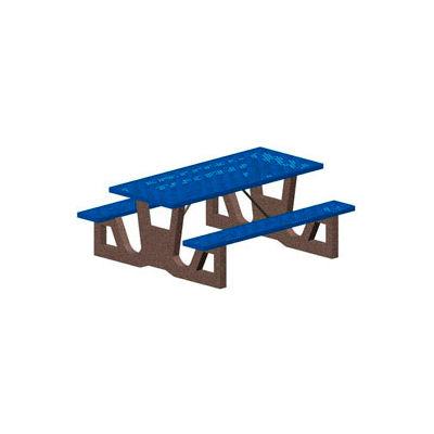 "96"" Gray Concrete Table Frame w/ Blue Steel Mesh Seat & Top"