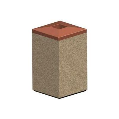 Petersen Square 22 Gallon Concrete Receptacle with Plastic Lid - Tan - TC-SF-22 Sand Tan