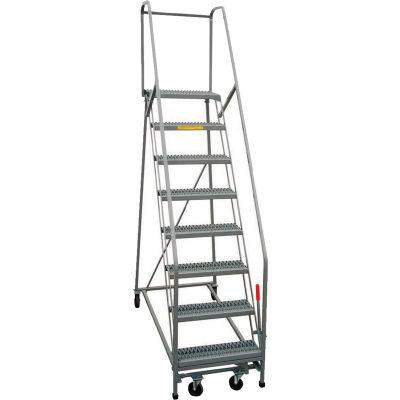 "P.W. Platforms 8-Step Rolling Ladder , Serrated, 24"" Step Width - GS8SH30"