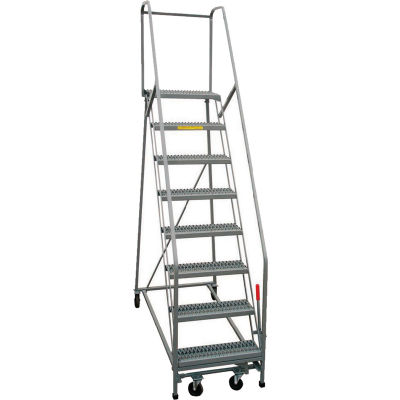 "P.W. Platforms 12-Step Rolling Ladder With Easy Angle, Serrated, 24"" Step Width - PW50-12SH30G"